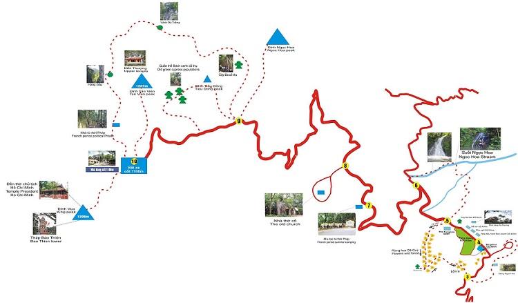 Bản đồ du lịch Vườn Quốc Gia Ba vì