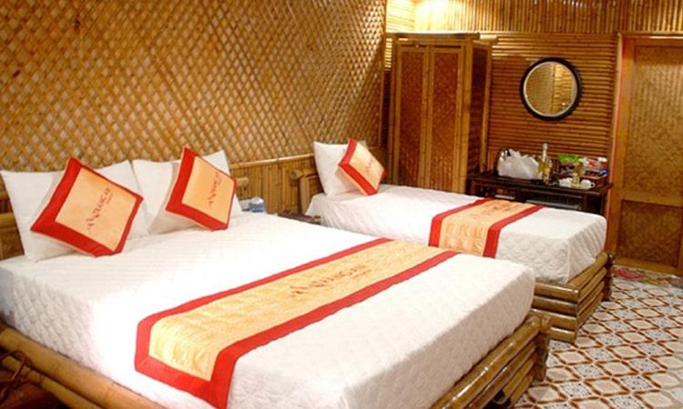 Phòng ngủ tại bungalow Tràng An