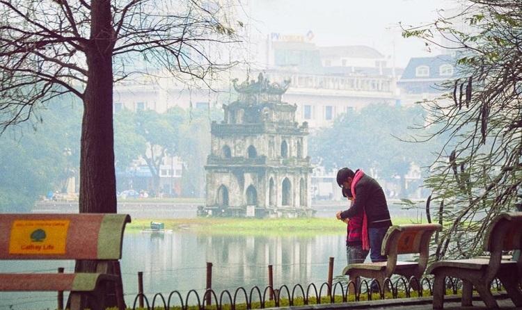 Một góc Hồ Hoàn Kiếm tại phố cổ Hà Nội vào mùa Thu